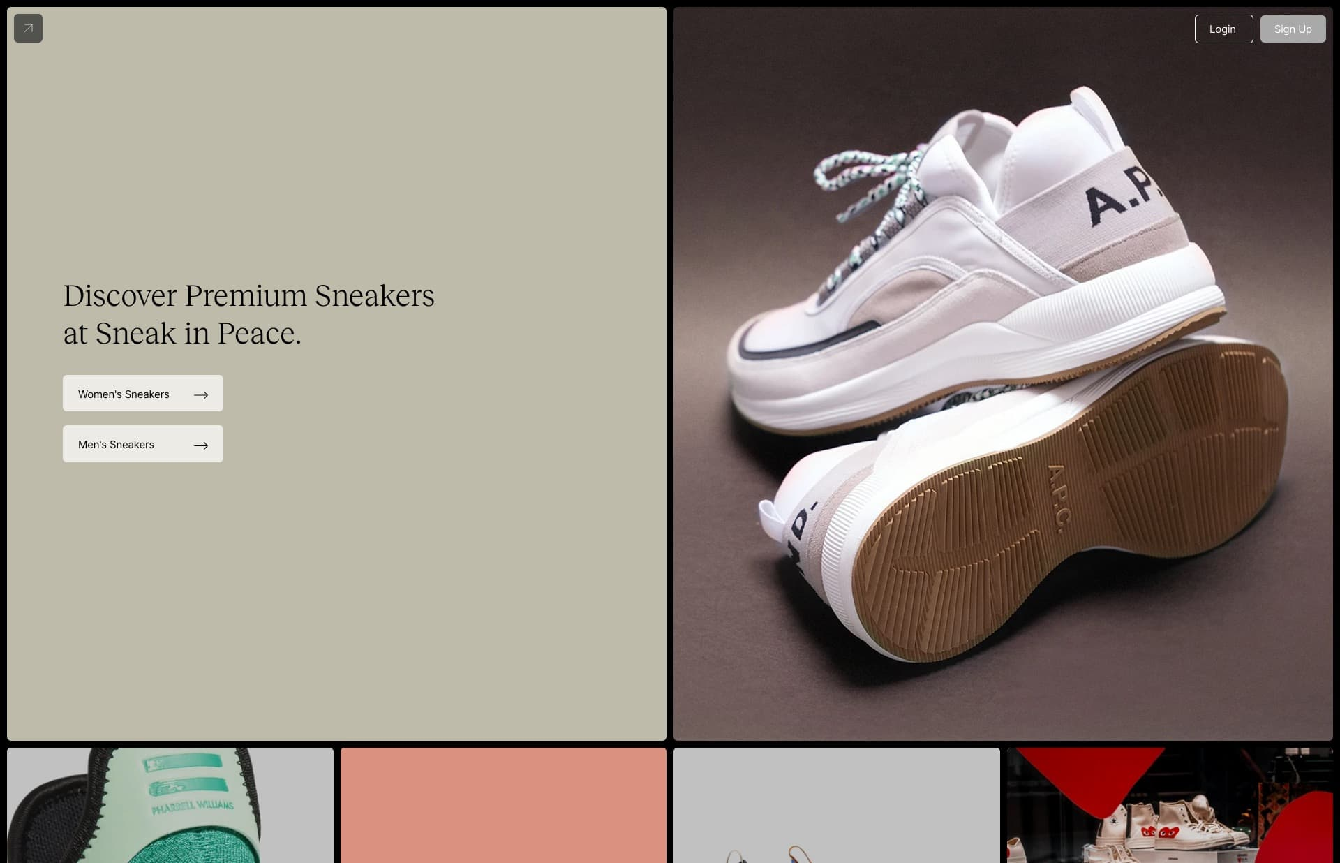 Screenshot of the website Sneak in Peace, featured on The Gallery, a curated collection of minimal websites