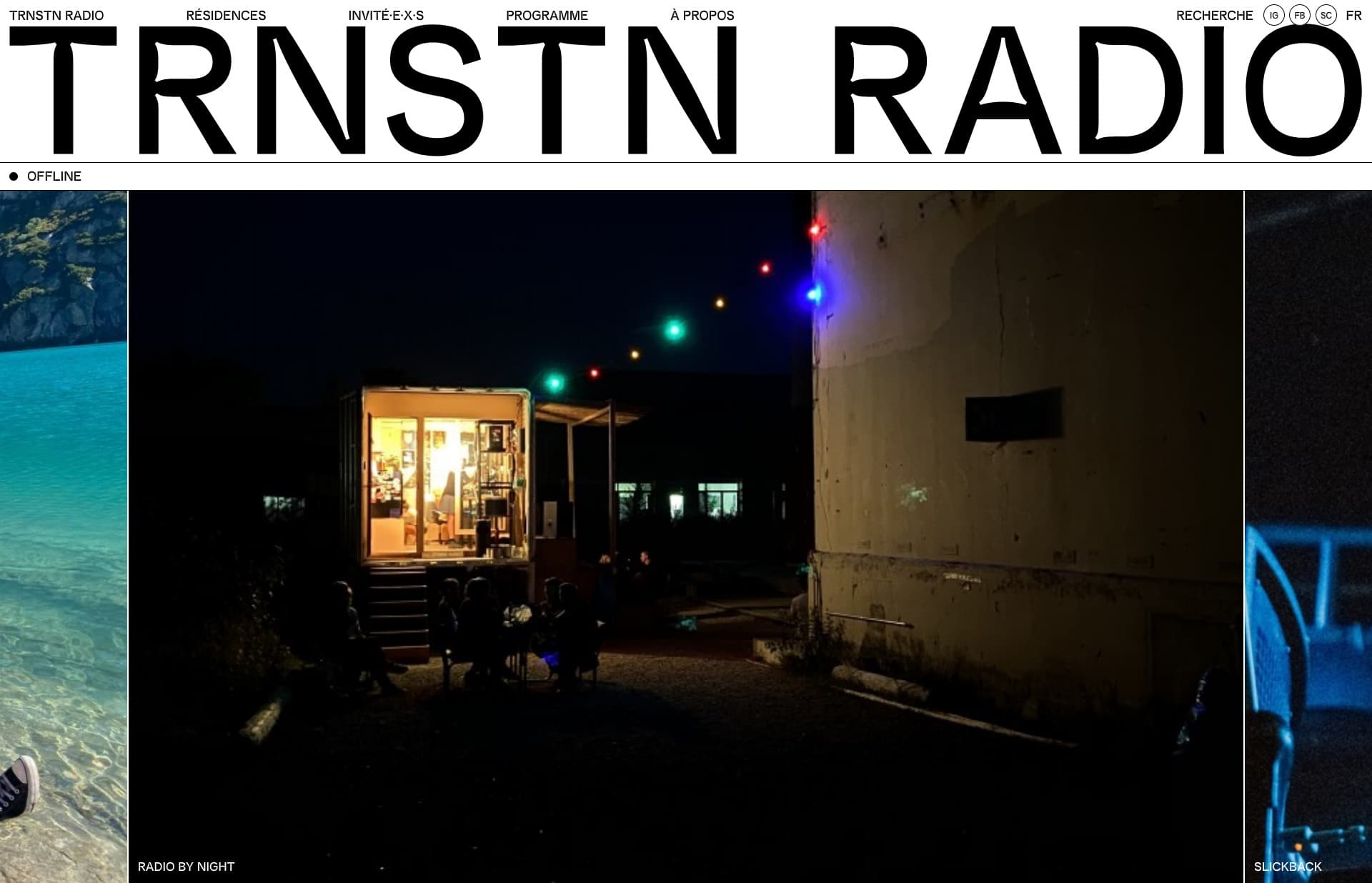 Screenshot of the website TRNSTN Radio, featured on The Gallery, a curated collection of minimal websites