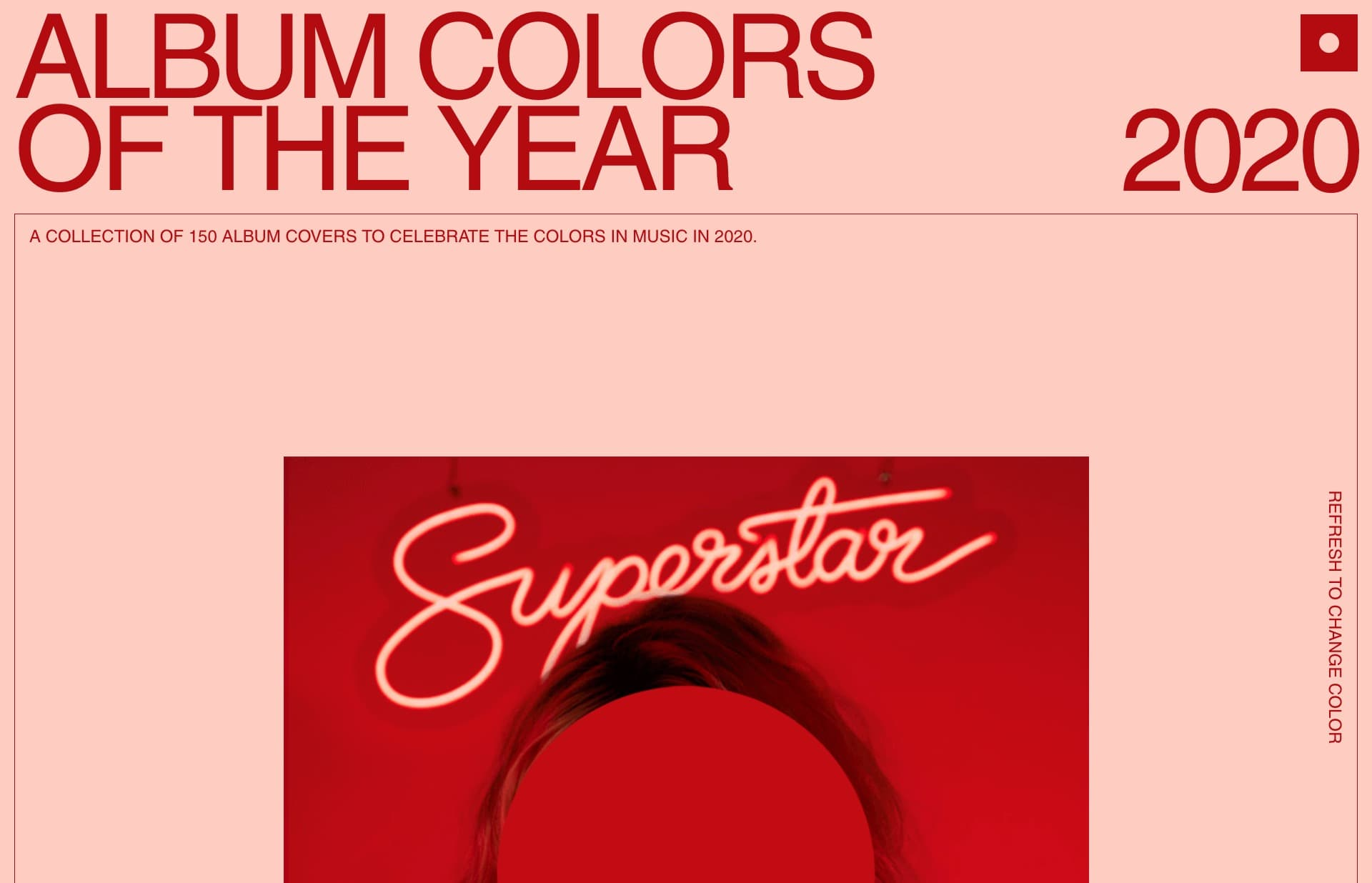 Screenshot of the website Album Colors Of The Year, featured on The Gallery, a curated collection of minimal websites