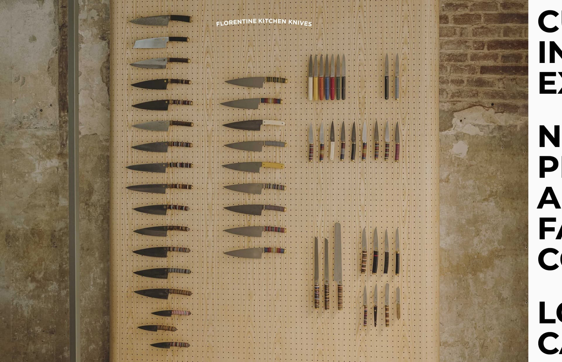 Screenshot of the website Florentine Kitchen Knives, featured on The Gallery, a curated collection of minimal websites