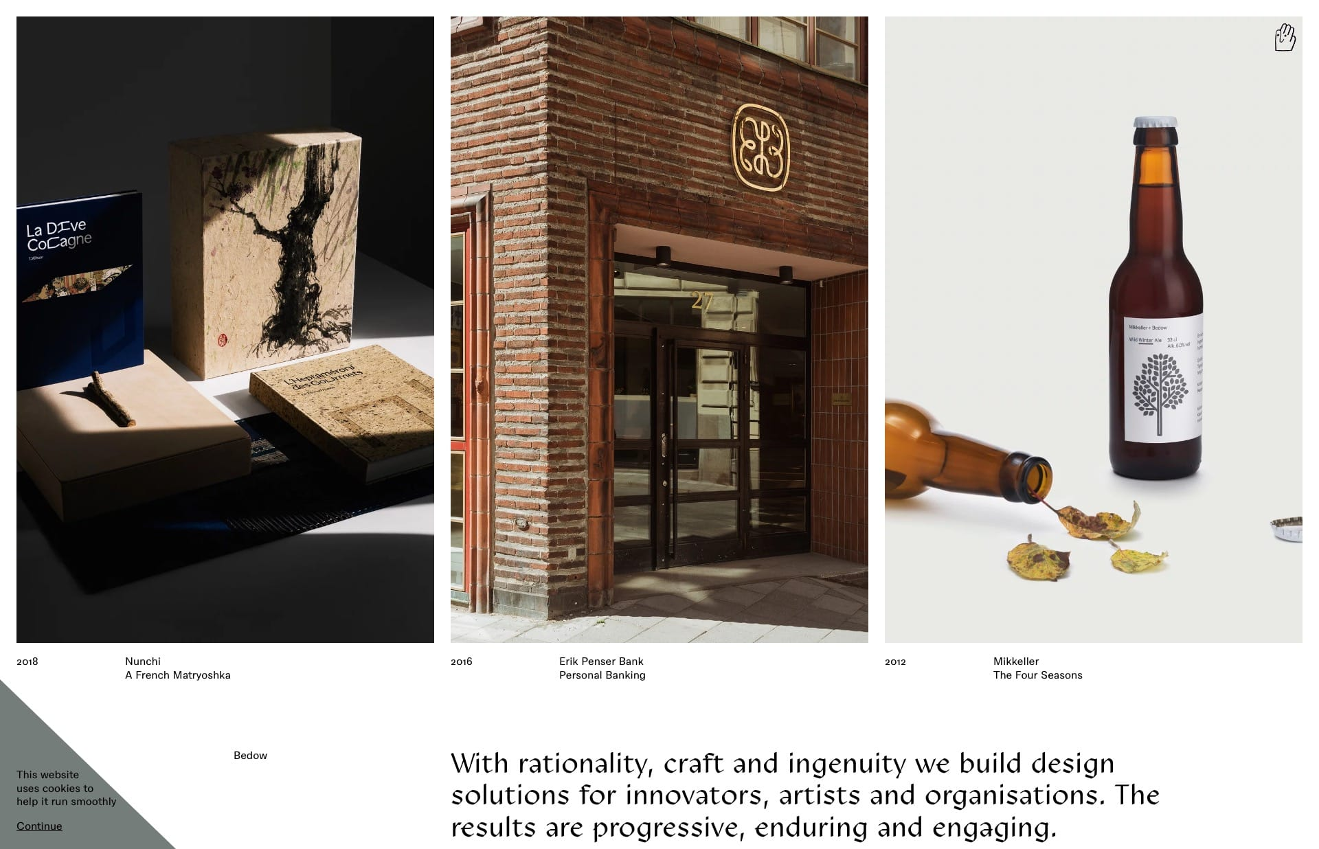 Screenshot of the website Bedow, featured on The Gallery, a curated collection of minimal websites