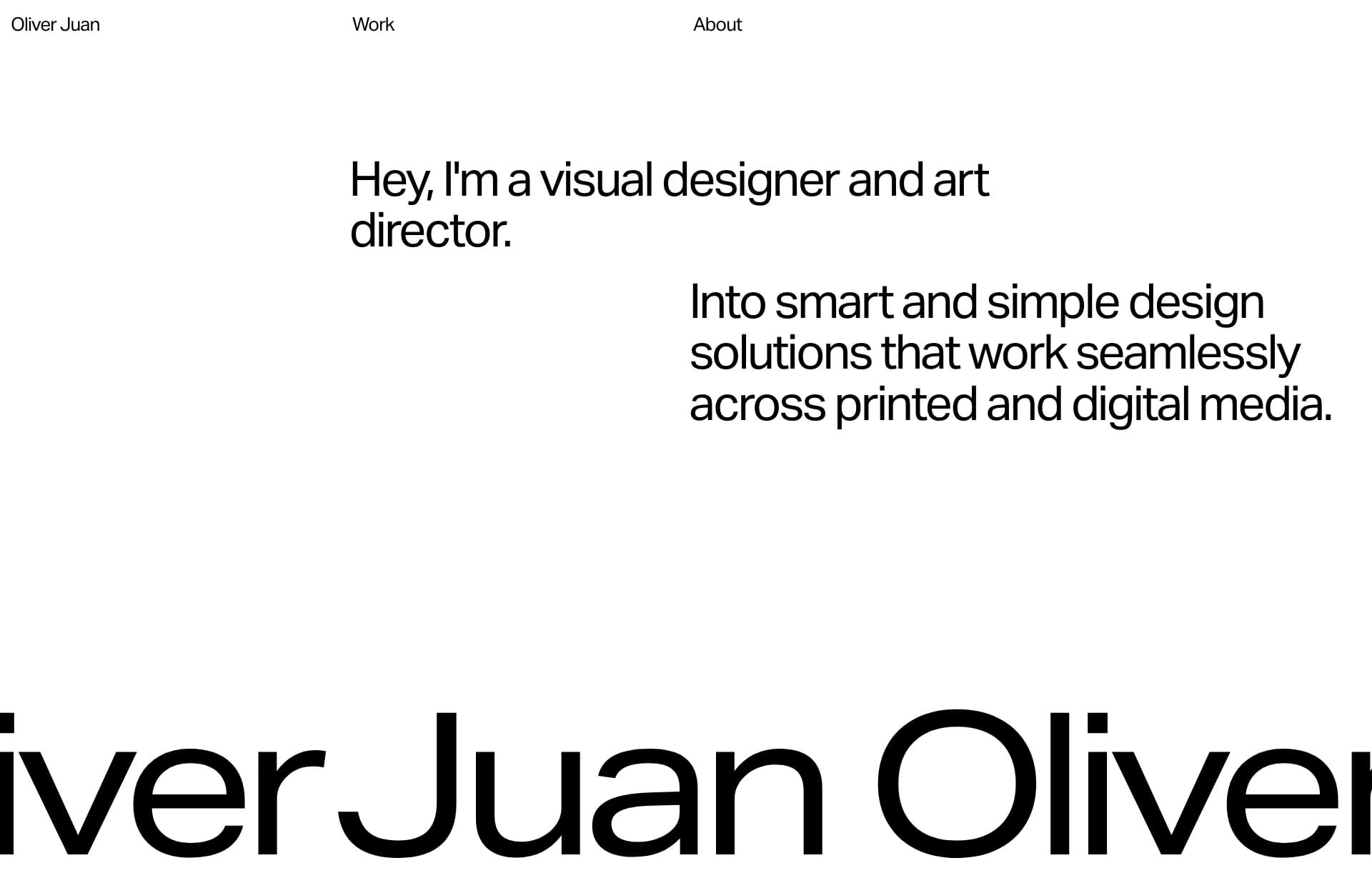 Screenshot of the website Oliver Juan, featured on The Gallery, a curated collection of minimal websites