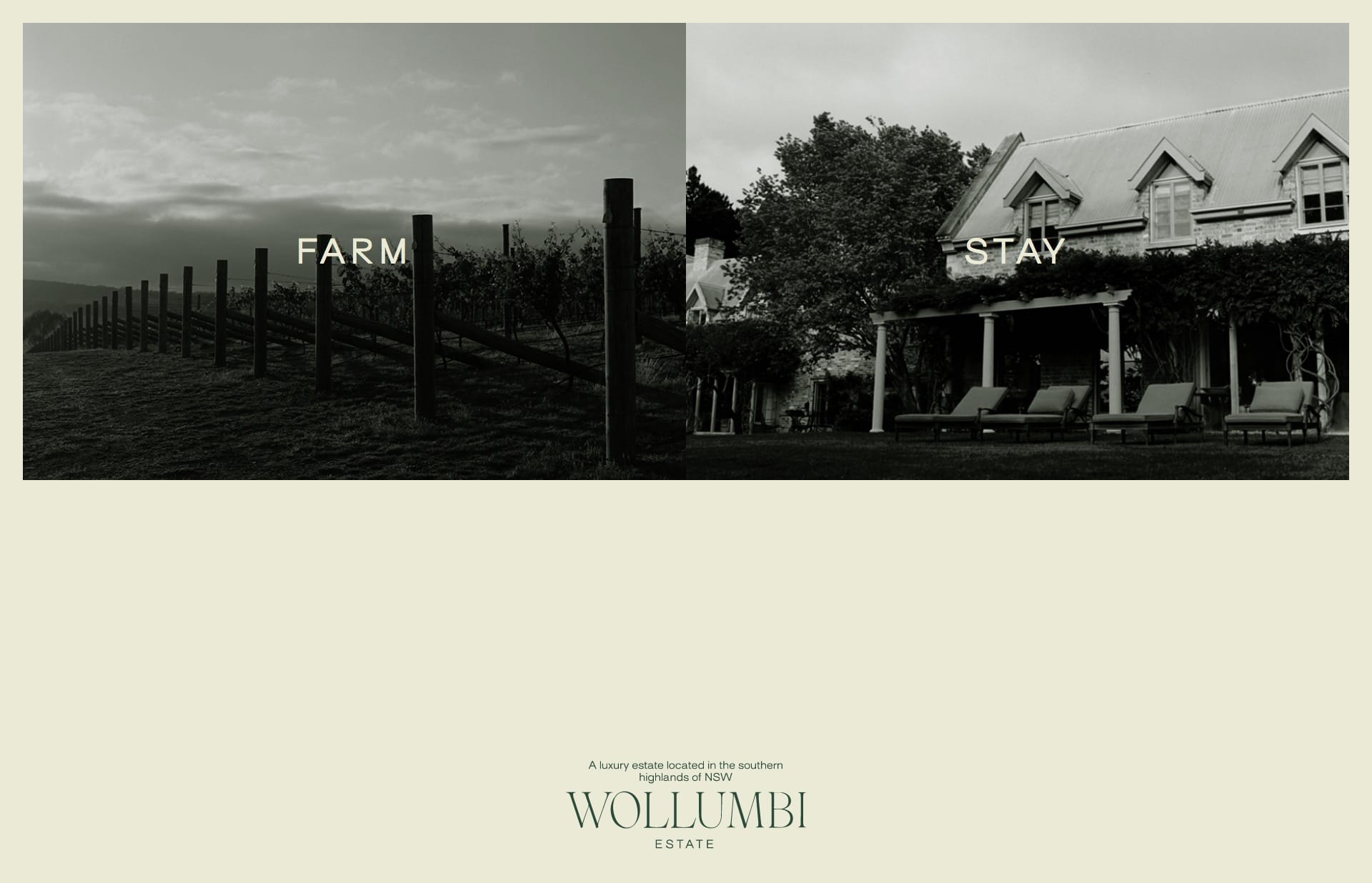 Screenshot of the website Wollumbi, featured on The Gallery, a curated collection of minimal websites