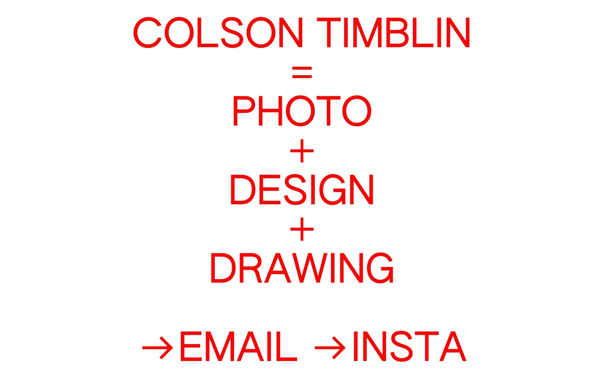 Screenshot of the website Colson Timblin, featured on The Gallery, a curated collection of minimal websites