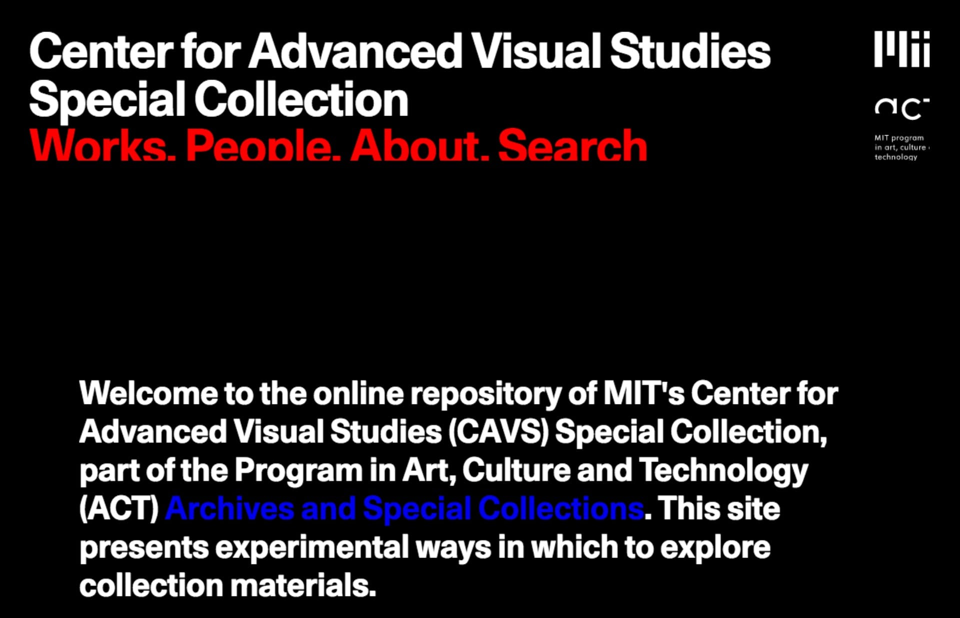 Screenshot of the website MIT CAVS, featured on The Gallery, a curated collection of minimal websites