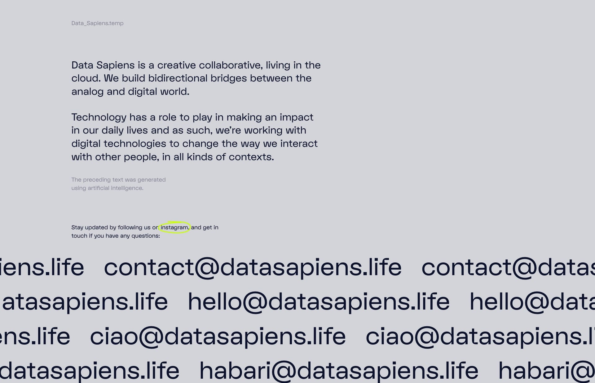 Screenshot of the website Data Sapiens, featured on The Gallery, a curated collection of minimal websites