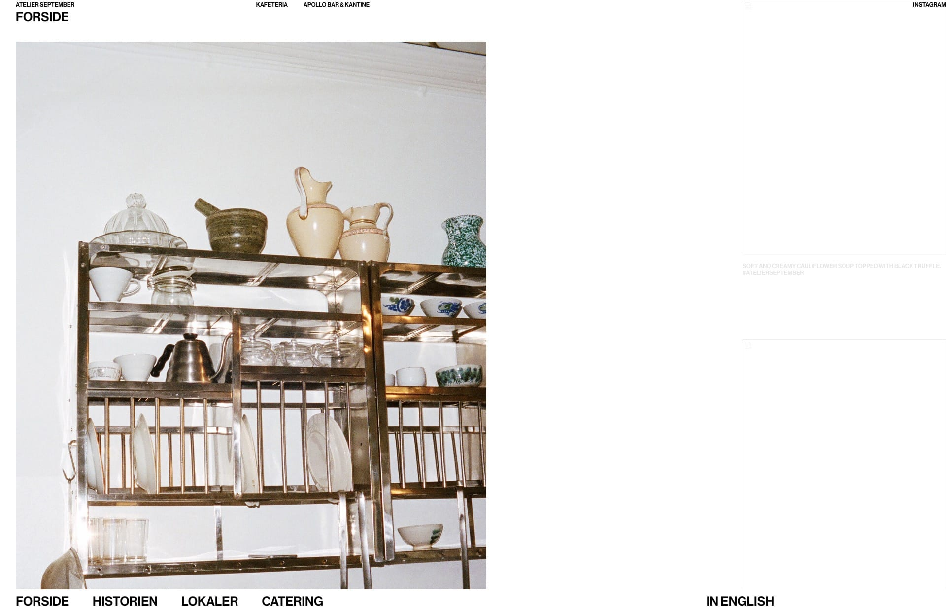 Screenshot of the website Atelier September, featured on The Gallery, a curated collection of minimal websites