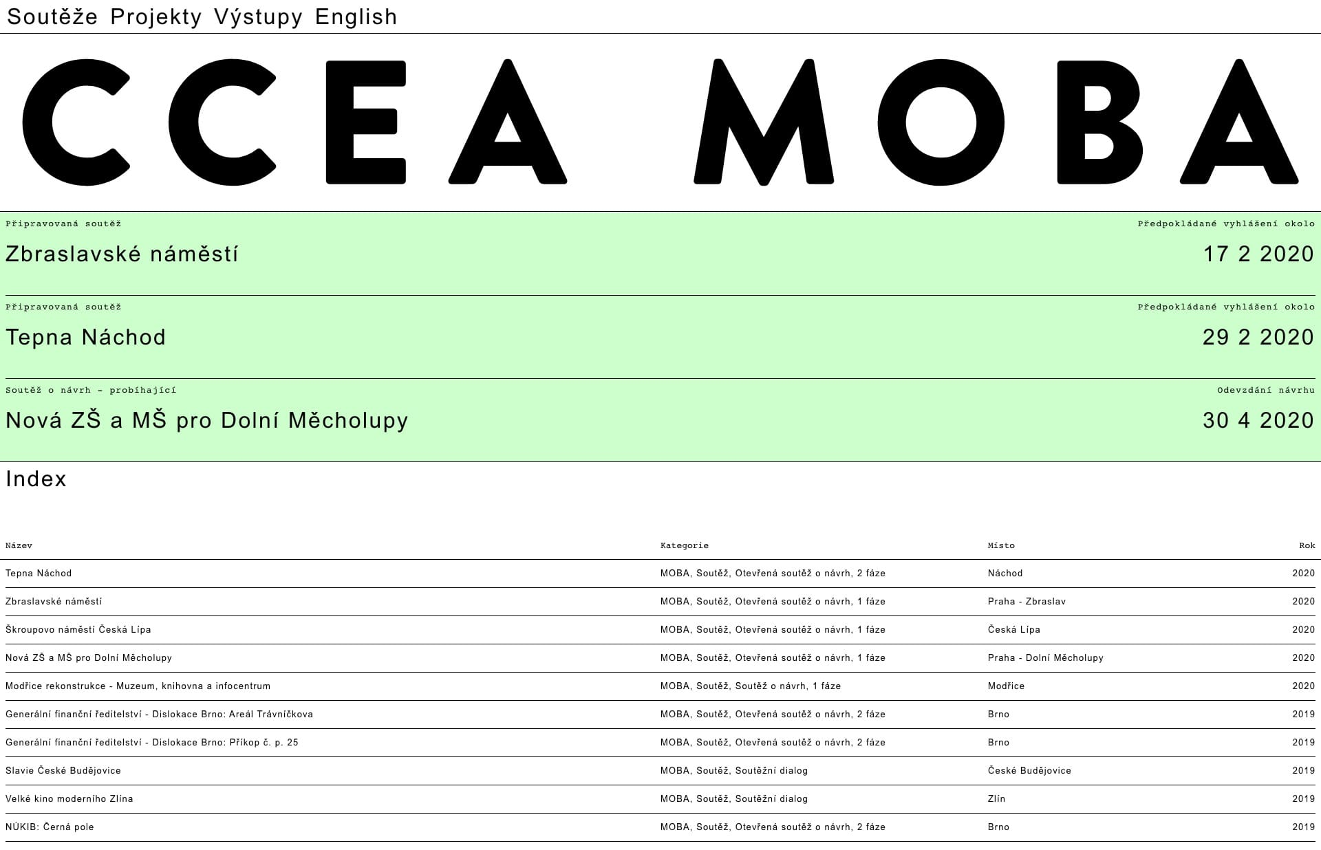 Screenshot of the website CCEA MOBA, featured on The Gallery, a curated collection of minimal websites