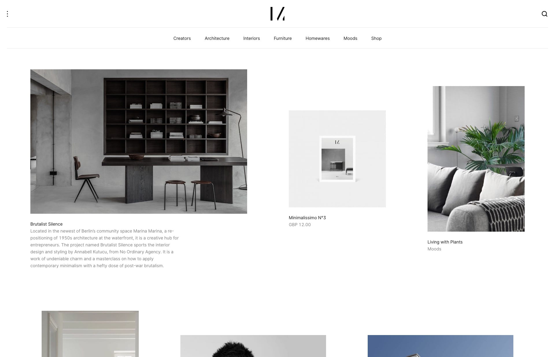 Screenshot of the website Minimalissimo, featured on The Gallery, a curated collection of minimal websites