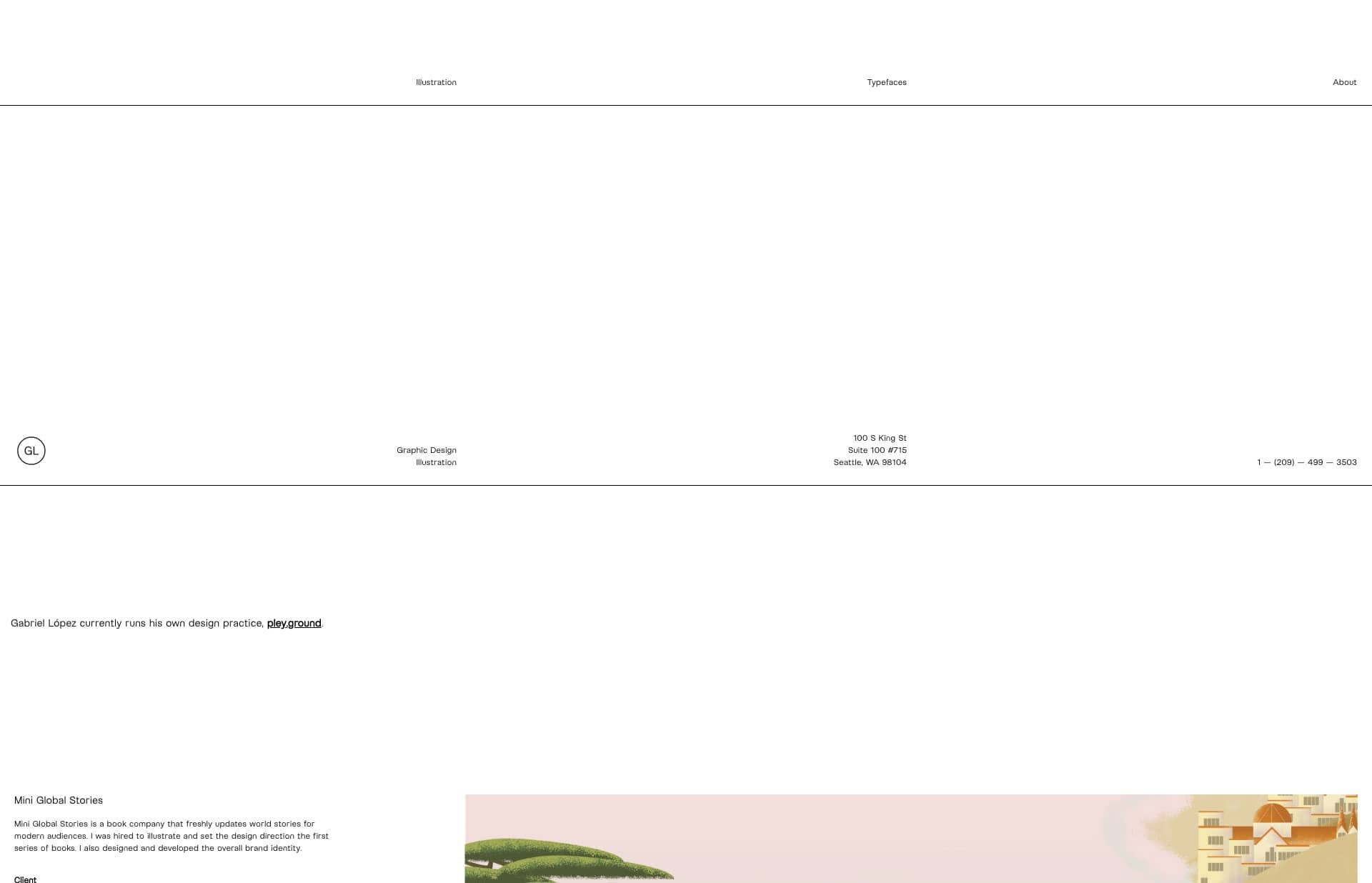 Screenshot of the website Gabriel López, featured on The Gallery, a curated collection of minimal websites