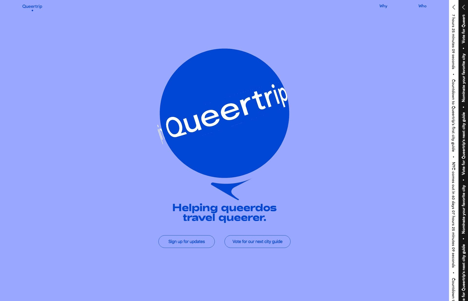 Screenshot of the website Queertrip, featured on The Gallery, a curated collection of minimal websites