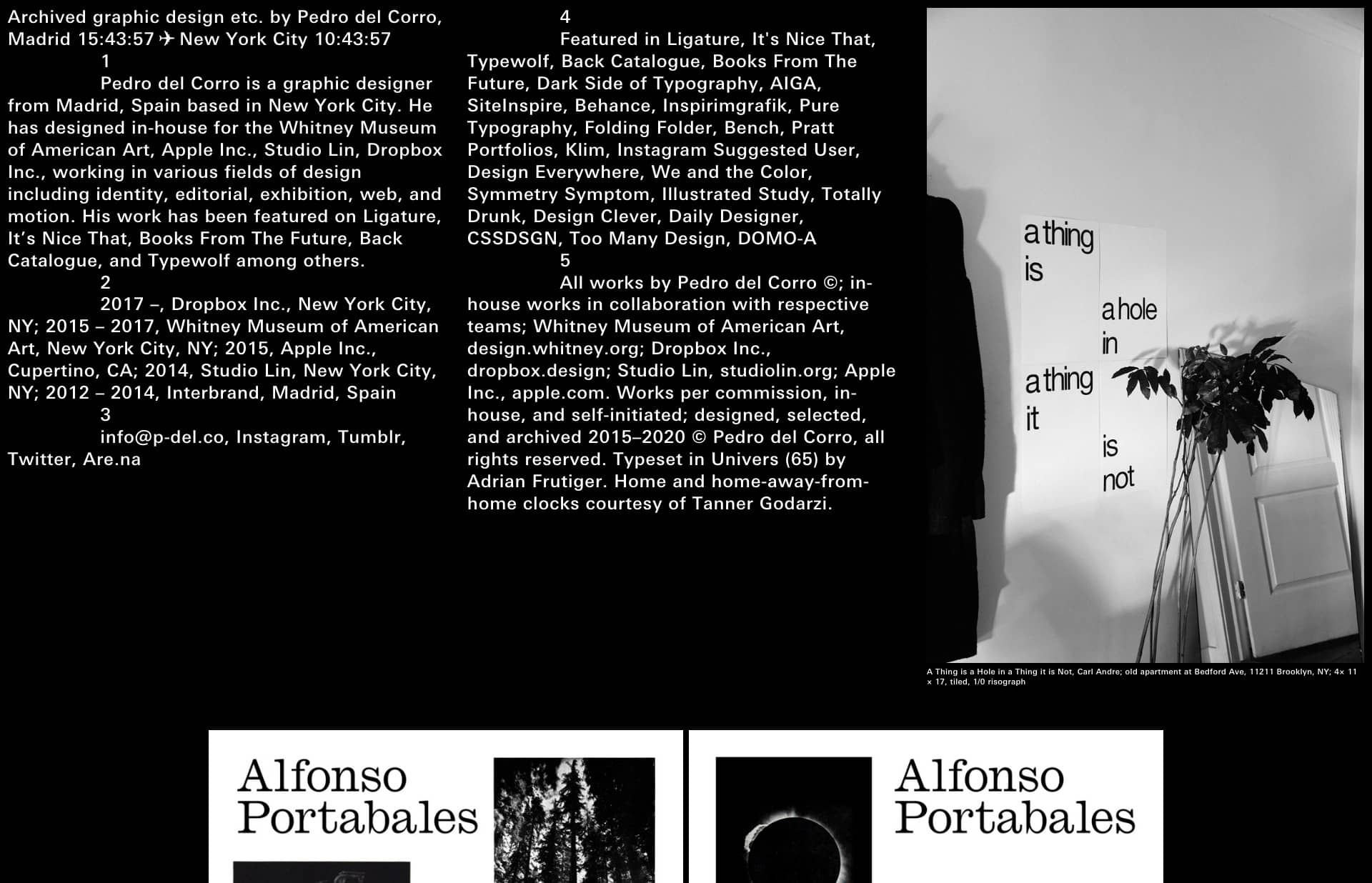 Screenshot of the website Pedro del Corro, featured on The Gallery, a curated collection of minimal websites