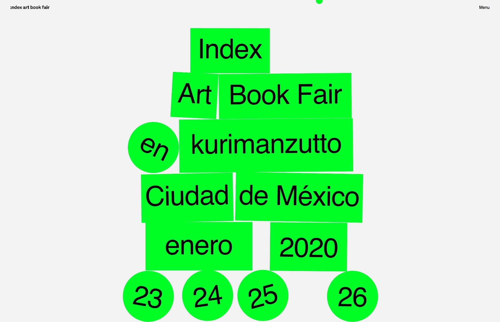 Screenshot of the website Index Art Book Fair @ kurimanzutto, featured on The Gallery, a curated collection of minimal websites