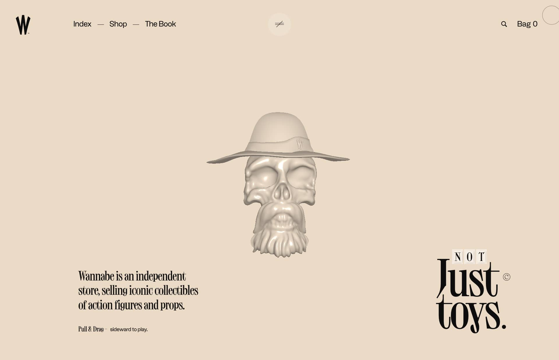 Screenshot of the website Wannabe, featured on The Gallery, a curated collection of minimal websites