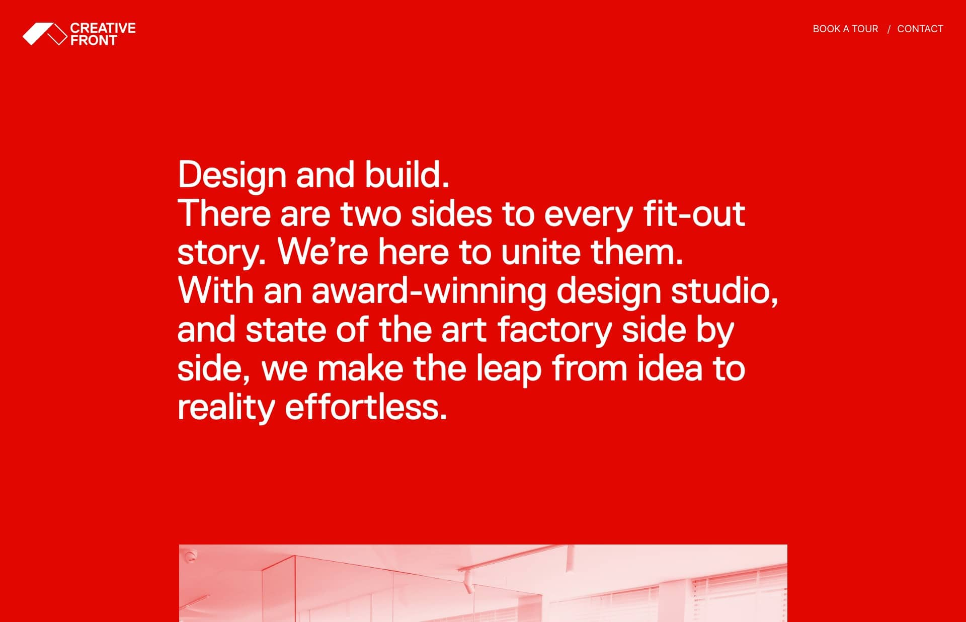 Screenshot of the website Creative Front, featured on The Gallery, a curated collection of minimal websites