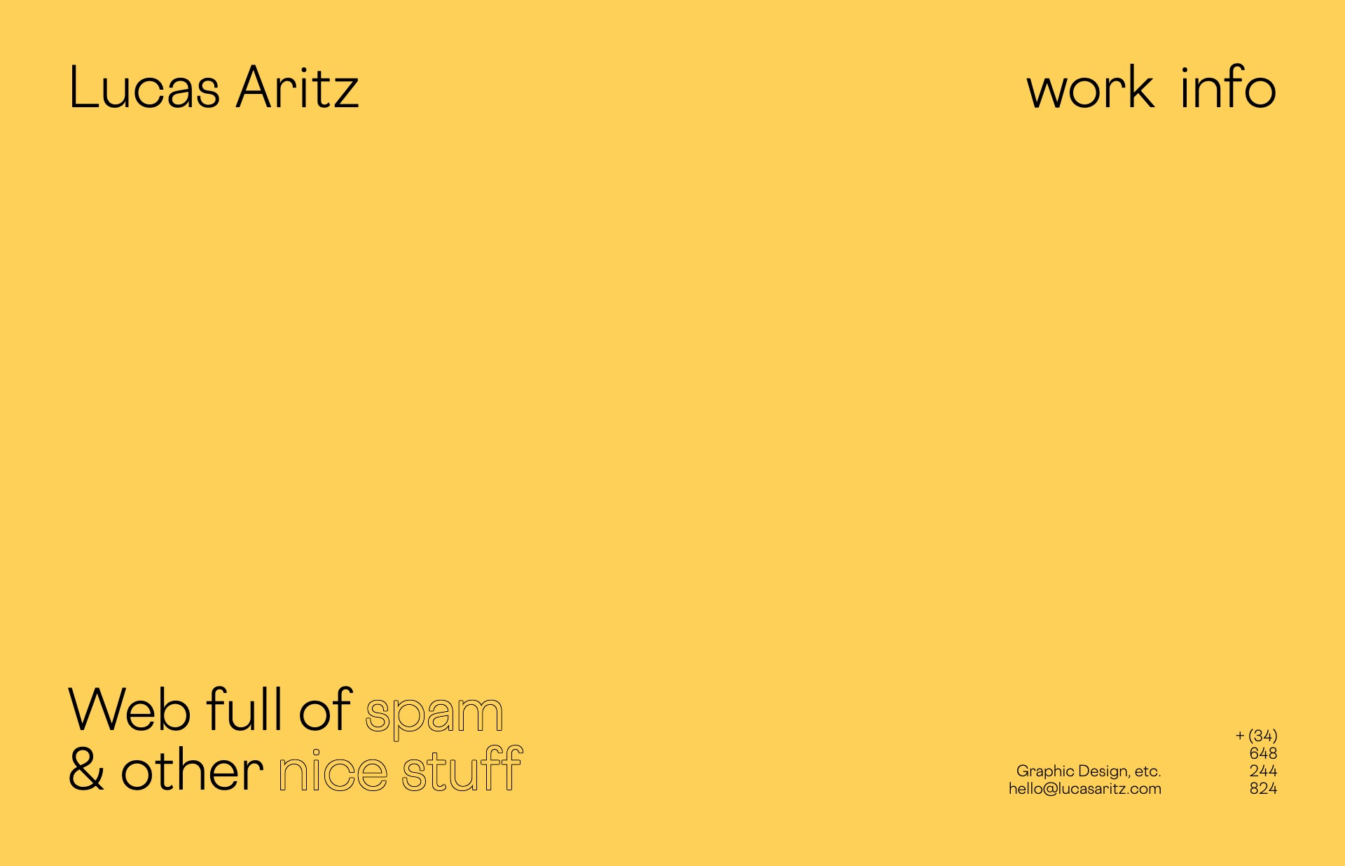 Screenshot of the website Lucas Aritz, featured on The Gallery, a curated collection of minimal websites