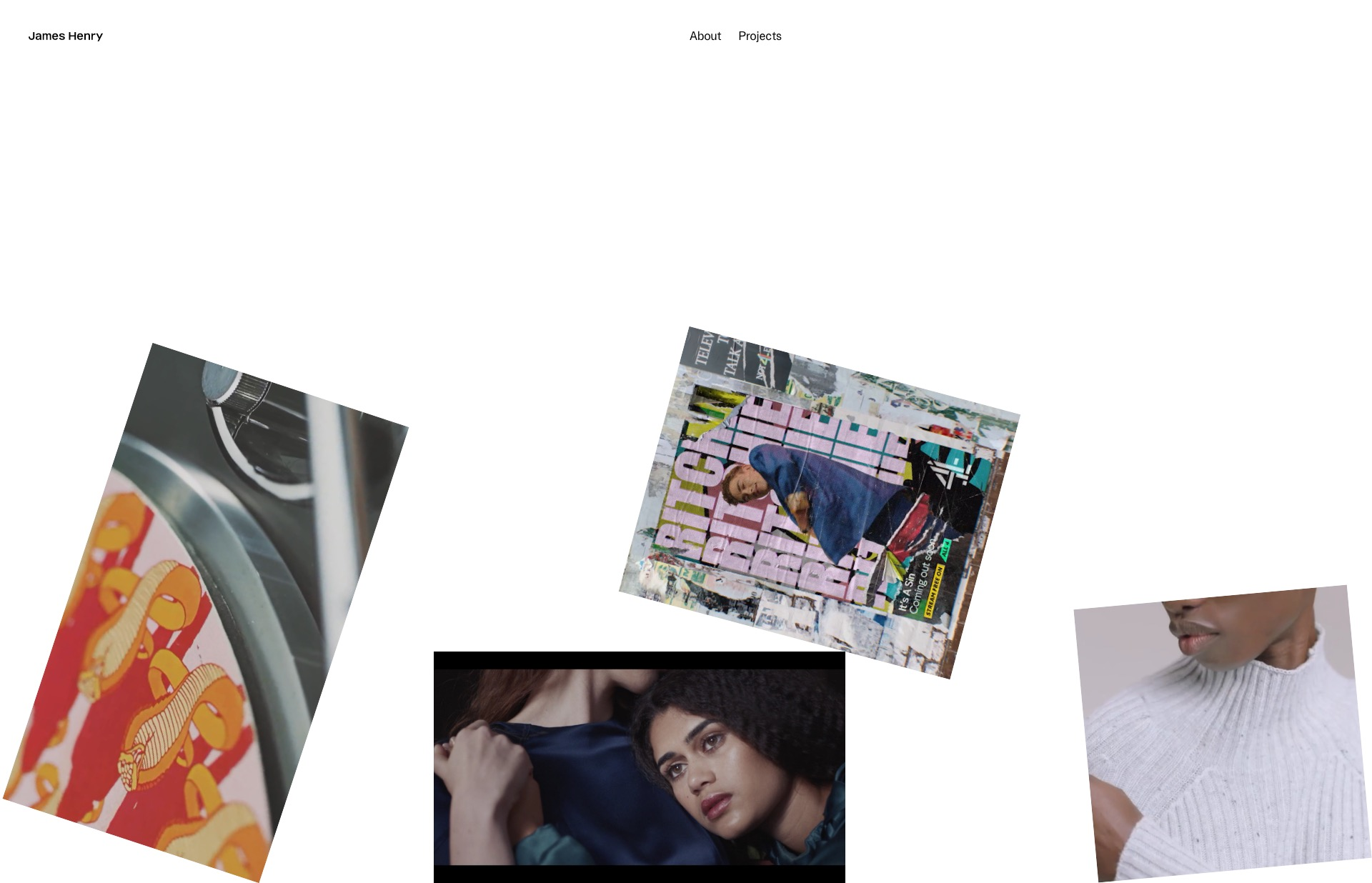 Screenshot of the website James Henry, featured on The Gallery, a curated collection of minimal websites