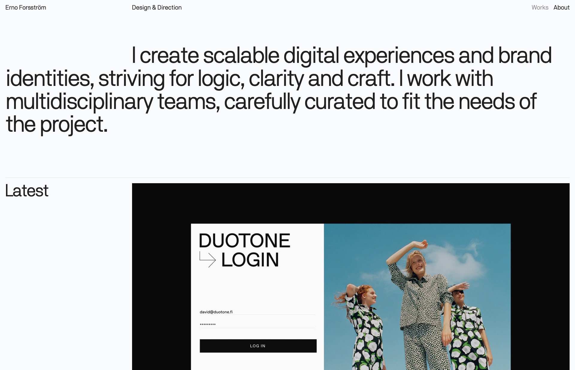 Screenshot of the website Erno Forsström, featured on The Gallery, a curated collection of minimal websites