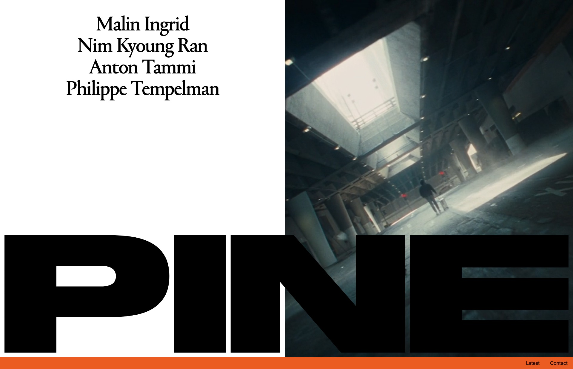 Screenshot of the website Pine, featured on The Gallery, a curated collection of minimal websites