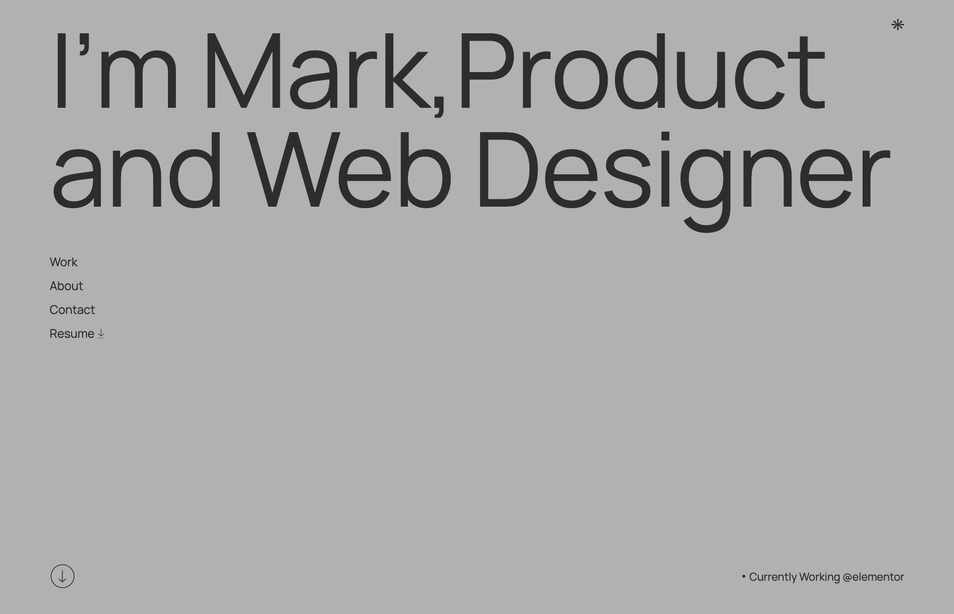 Screenshot of the website Mark Gerkules, featured on The Gallery, a curated collection of minimal websites