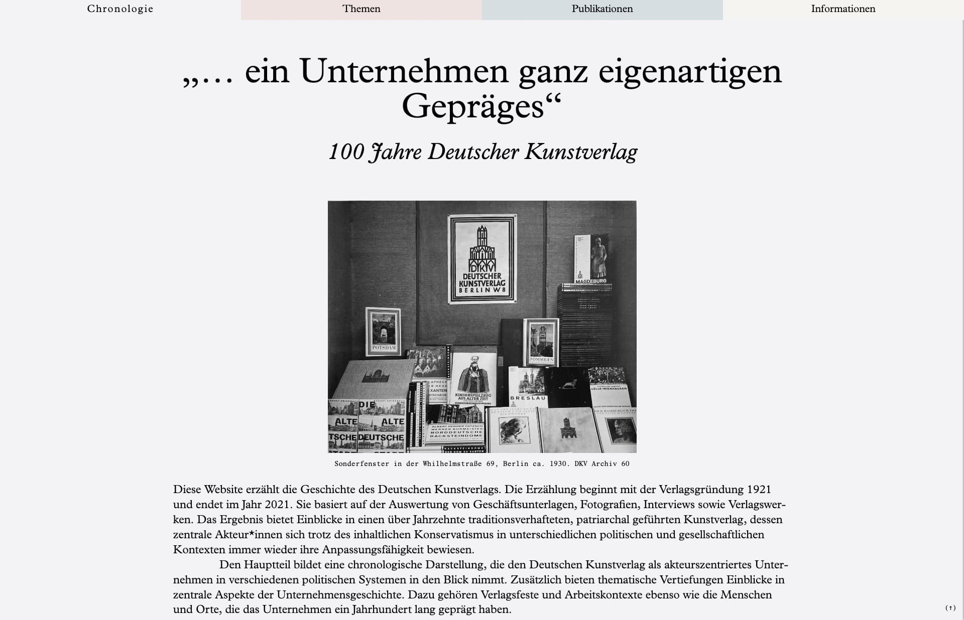 Screenshot of the website 100 Jahre Deutscher Kunstverlag, featured on The Gallery, a curated collection of minimal websites