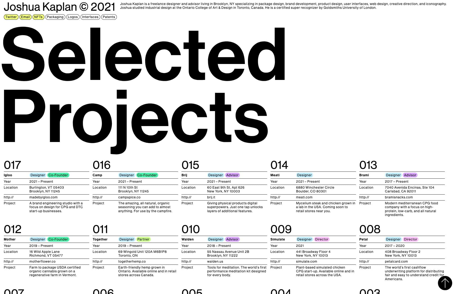 Screenshot of the website Joshua Kaplan, featured on The Gallery, a curated collection of minimal websites