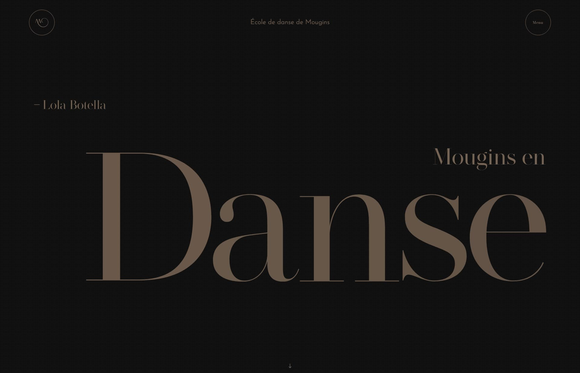 Screenshot of the website École Mougins en Danse, featured on The Gallery, a curated collection of minimal websites