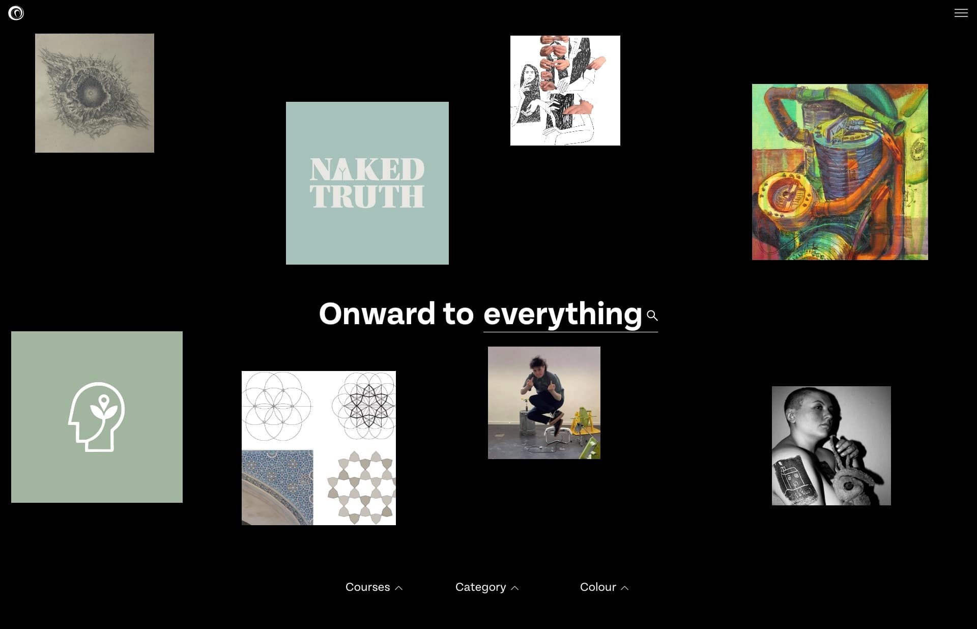 Screenshot of the website Onwards, featured on The Gallery, a curated collection of minimal websites