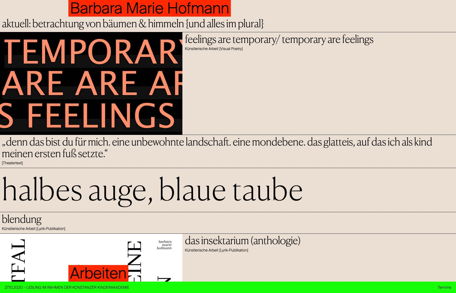 Screenshot of the website Barbara Marie Hofmann, featured on The Gallery, a curated collection of minimal websites