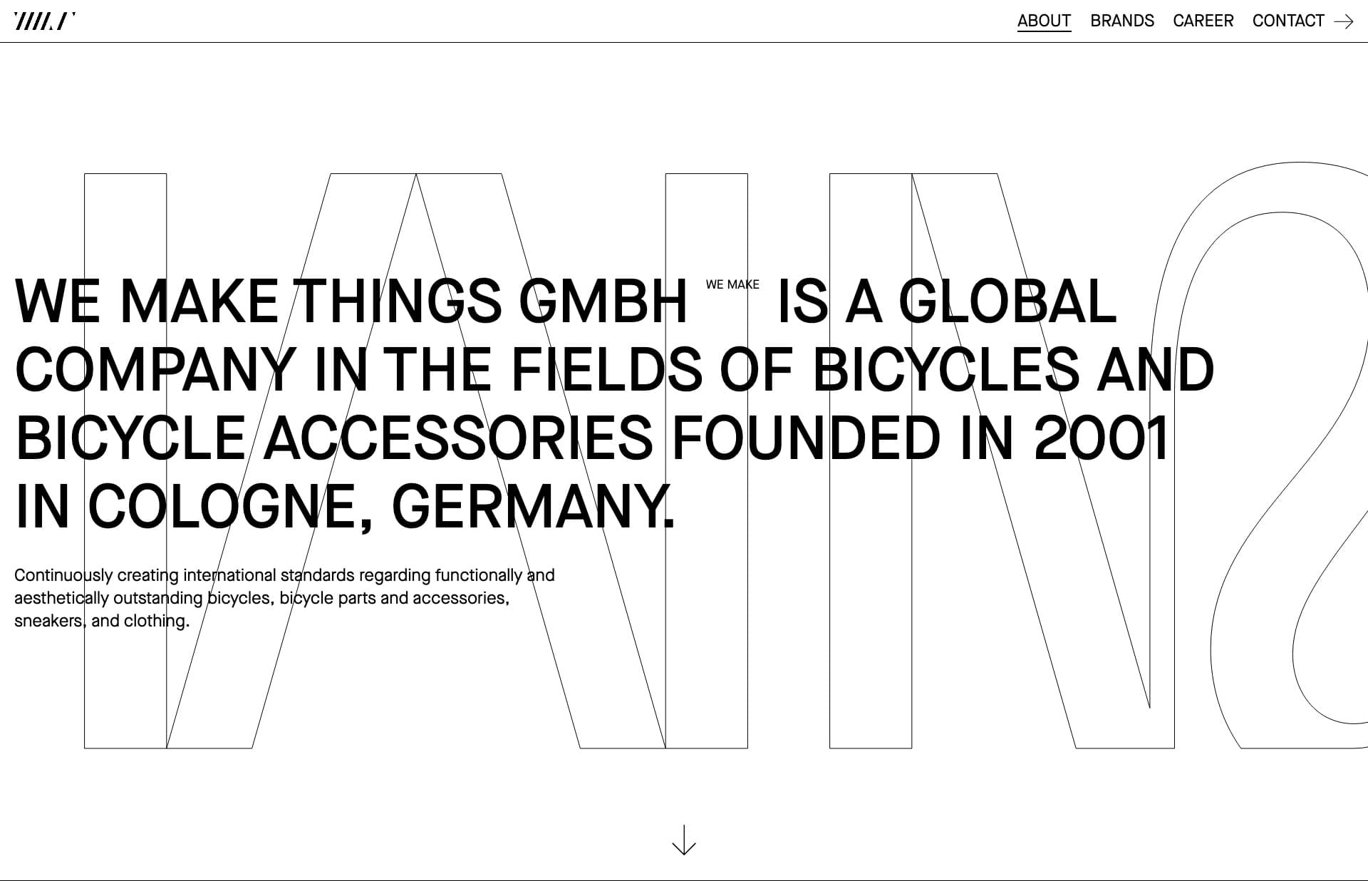 Screenshot of the website We Make Things, featured on The Gallery, a curated collection of minimal websites