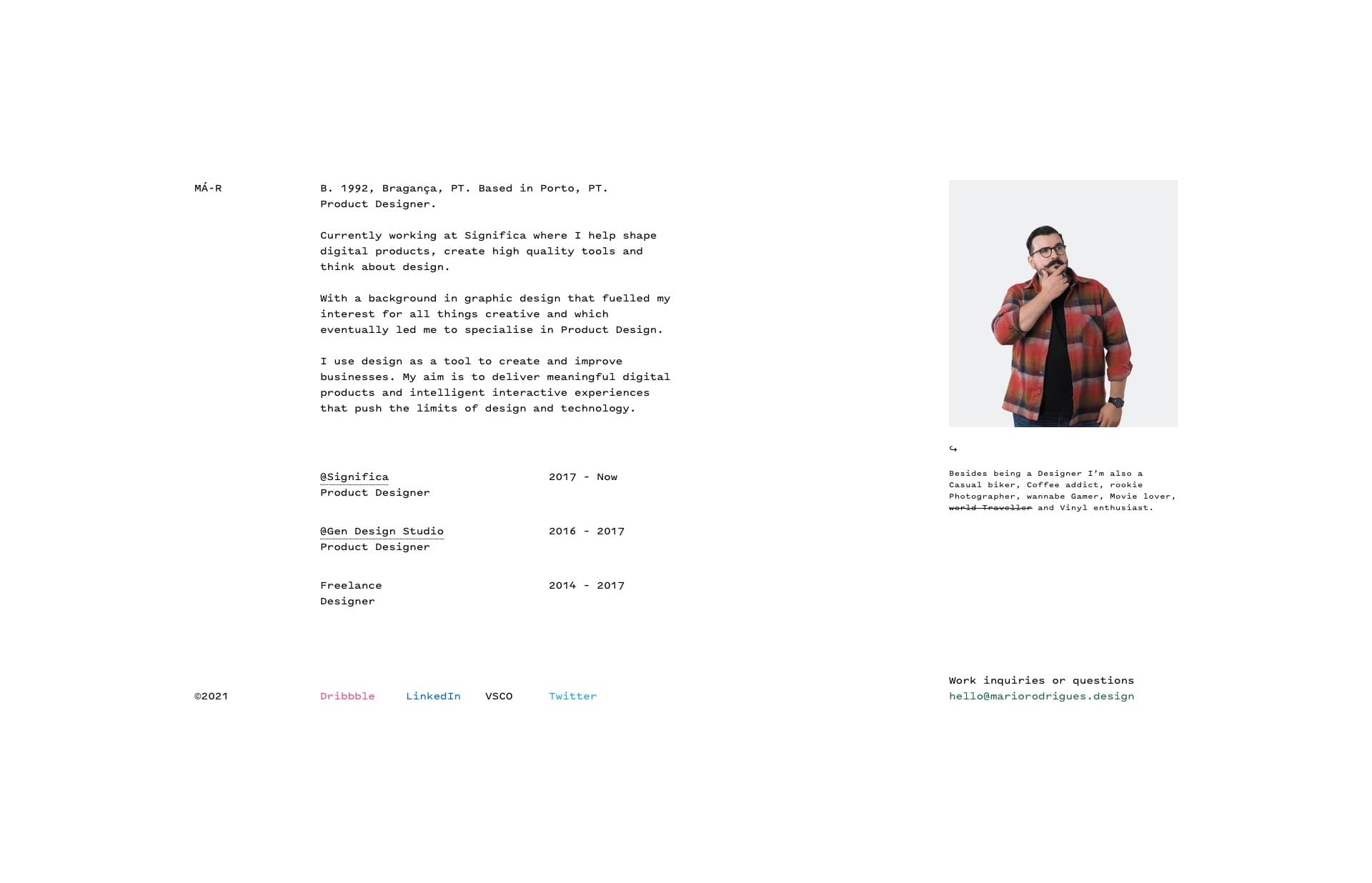 Screenshot of the website Mario Rodrigues, featured on The Gallery, a curated collection of minimal websites