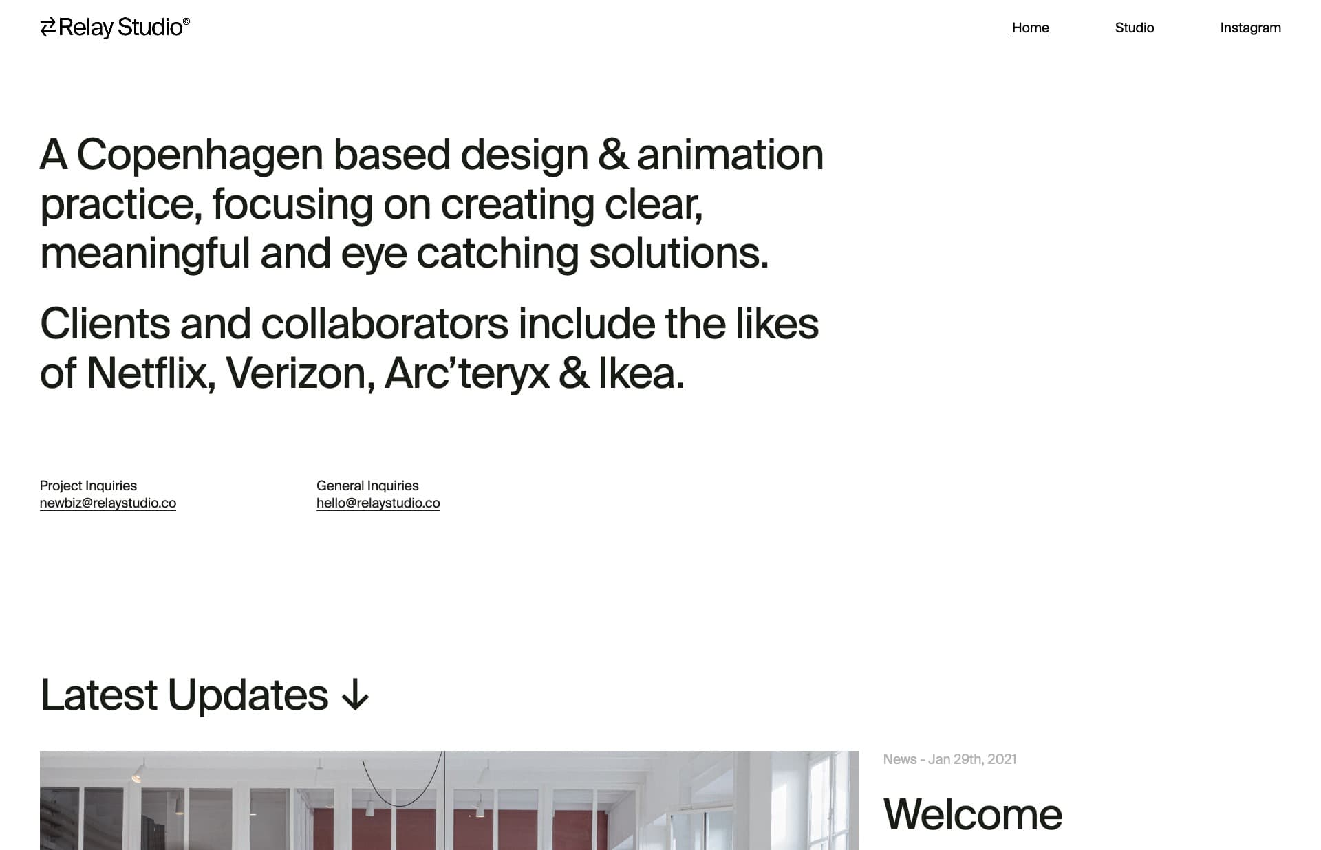 Screenshot of the website Relay Studio, featured on The Gallery, a curated collection of minimal websites