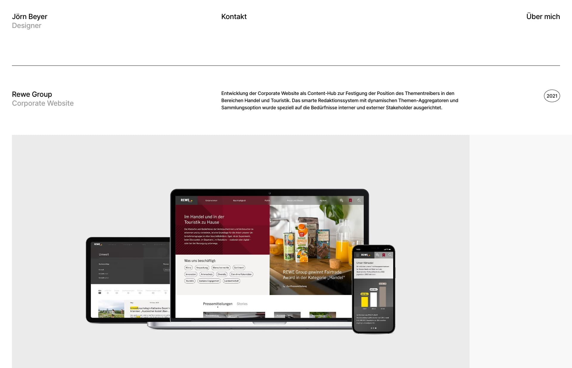 Screenshot of the website Jörn Beyer, featured on The Gallery, a curated collection of minimal websites