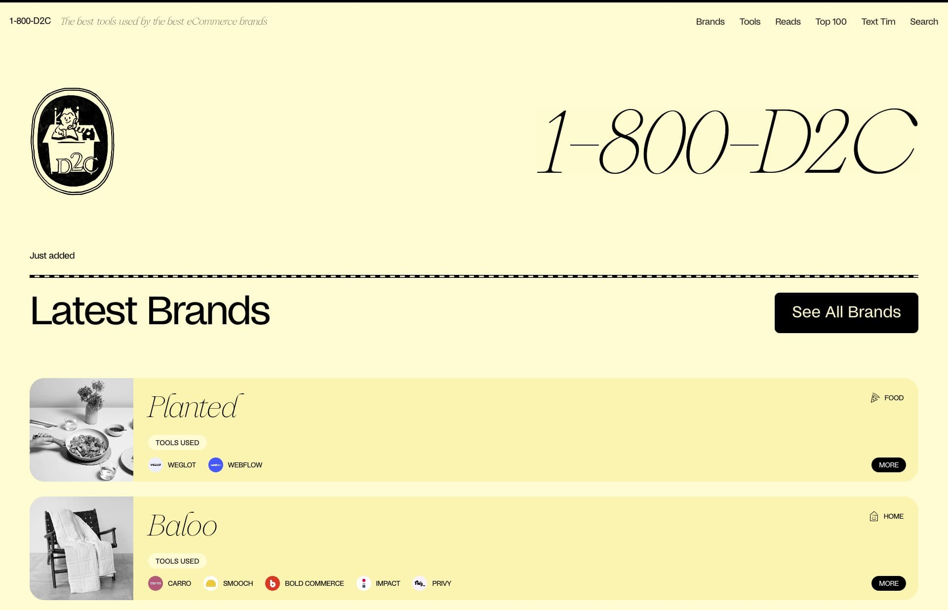 Screenshot of the website 1-800-D2C, featured on The Gallery, a curated collection of minimal websites