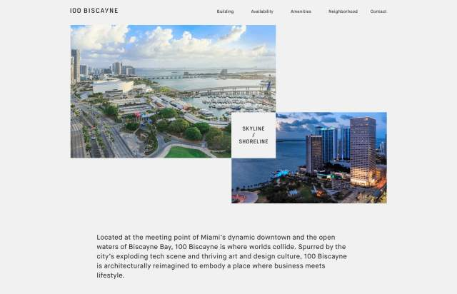 Screenshot of the homepage of the minimal website 100 Biscayne, published on The Gallery on the 2019-07-08 and tagged with the tags architecture, real estate, sans serif, maison neue