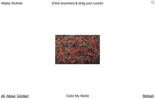 Screenshot of the homepage of the minimal website Abbey Druliner, published on The Gallery on the 2019-11-12 and tagged with the tags brutal, minimal, art, portfolio, black and white, single font