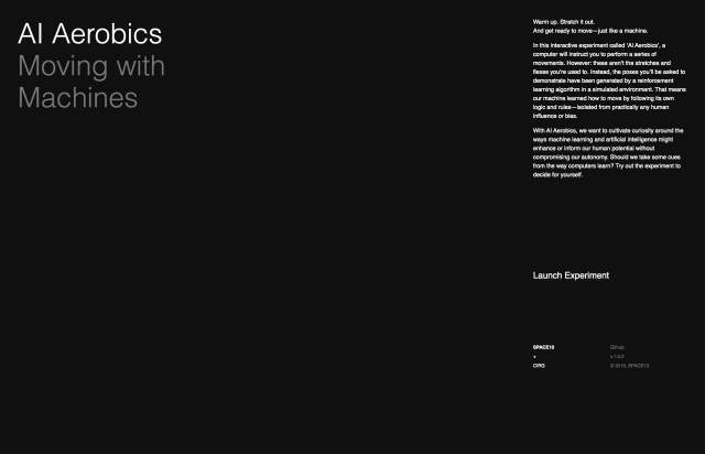 Screenshot of the homepage of the minimal website AI Aerobics, published on The Gallery on the 2019-11-15 and tagged with the tags dark, interactive, experiment, ai, video