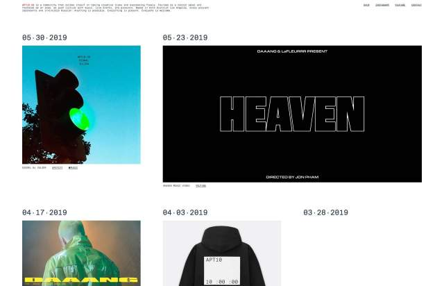 Screenshot of the homepage of the minimal website APT10.US, published on The Gallery on the 2019-05-31 and tagged with the tags grid,monospaced,art,inspirations