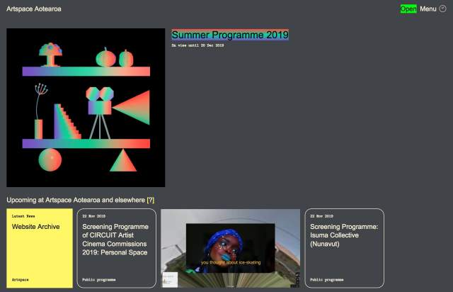 Screenshot of the homepage of the minimal website Artspace Aotearoa, published on The Gallery on the 2019-12-13 and tagged with the tags brutal, grid, left aligned, grey, irregular grid
