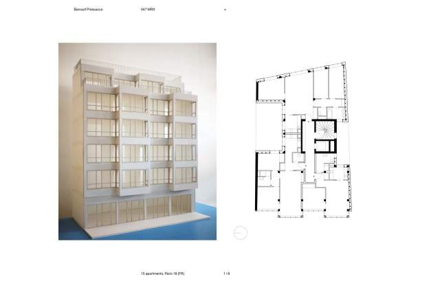 Screenshot of the homepage of the minimal website Barrault Pressacco, published on The Gallery on the 2019-06-30 and tagged with the tags personal, architecture, portfolio, sans serif, minimal, two columns