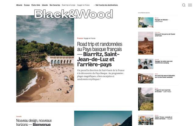 Screenshot of the homepage of the minimal website Black&Wood, published on The Gallery on the 2019-09-12 and tagged with the tags blog, travel, multicolumn