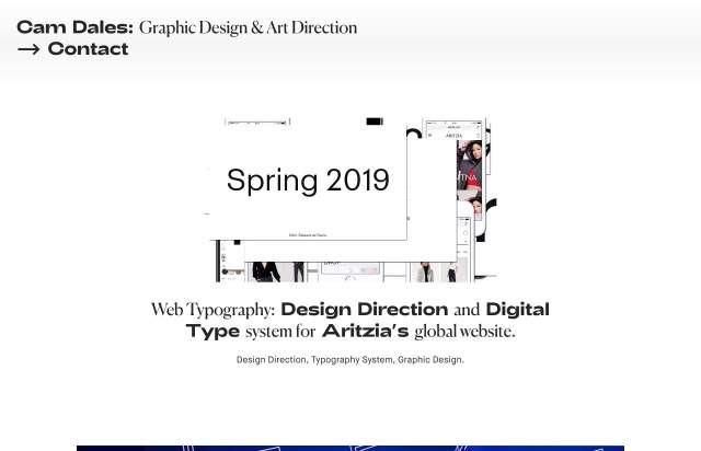 Screenshot of the homepage of the minimal website Cam Dales, published on The Gallery on the 2019-07-05 and tagged with the tags brutal, portfolio, personal, big typography, center aligned