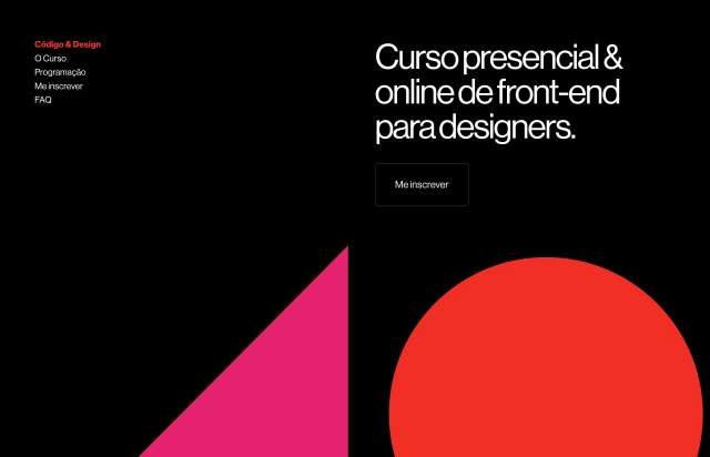 Screenshot of the homepage of the minimal website Código & Design, published on The Gallery on the 2019-09-03 and tagged with the tags sans serif, one page, colourful, dark