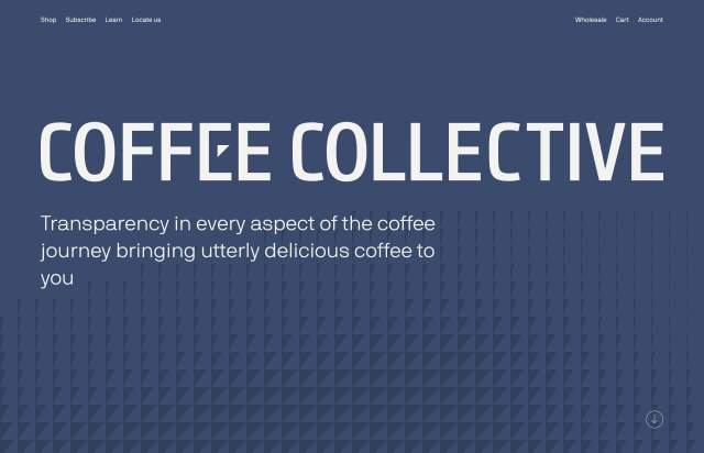 Screenshot of the homepage of the minimal website Coffee Collective, published on The Gallery on the 2019-06-30 and tagged with the tags coffee, sub, unusual scroll, colourful, nb international