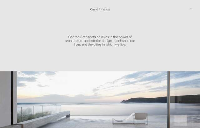 Screenshot of the homepage of the minimal website Conrad Architects, published on The Gallery on the 2019-06-30 and tagged with the tags portfolio, architecture, sans serif, center aligned