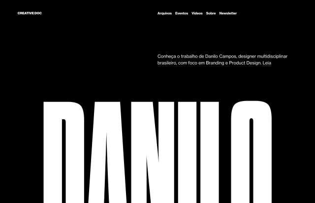Screenshot of the homepage of the minimal website Creative Doc, published on The Gallery on the 2019-09-03 and tagged with the tags dark, sans serif, one page, big typography
