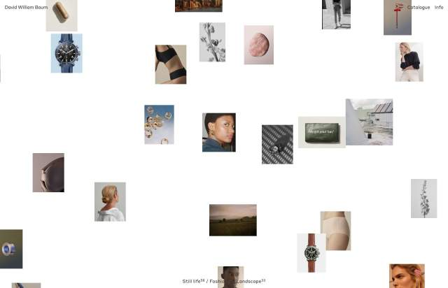 Screenshot of the homepage of the minimal website David William Baum, published on The Gallery on the 2019-12-13 and tagged with the tags personal, portfolio, interactive, grid, irregular grid, photography