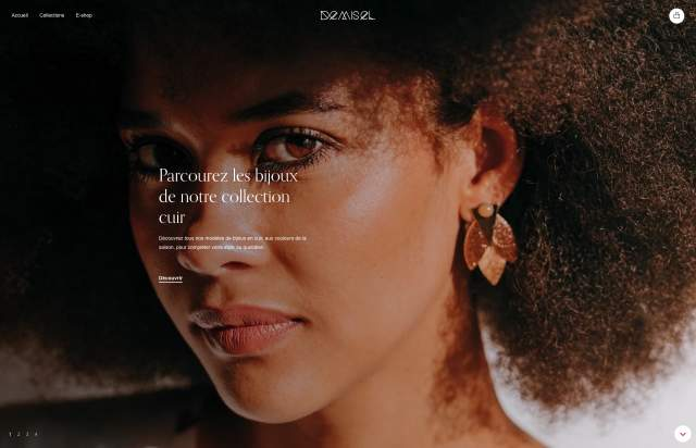 Screenshot of the homepage of the minimal website Demisel Bijoux, published on The Gallery on the 2019-12-13 and tagged with the tags fashion, store, shop, jewellery, french, serif