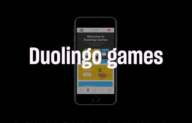 Screenshot of the homepage of the minimal website Duolingo Games, published on The Gallery on the 2019-05-21 and tagged with the tags dark,monospaced,center aligned,case study