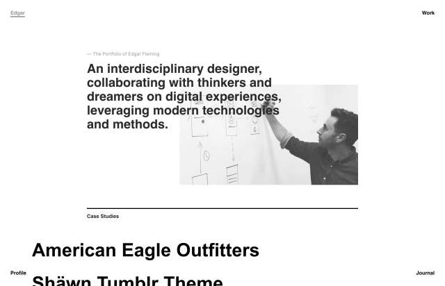 Screenshot of the homepage of the minimal website Edgar Fleming, published on The Gallery on the 2019-05-21 and tagged with the tags portfolio,personal,center aligned,sans serif,black and white